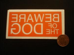 Beware of the dog - HQ Contour Cut Vinyl Window Sticker - (Small) (43mm x 93 mm)