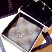 Fashion Butterfly 925 Silver Pave Cubic Zirconia Rose Gold Pendan Chain Necklace