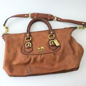 Coach 12949 Madison Sabrina Brown Leather purse Satchel Handbag Purse Brass