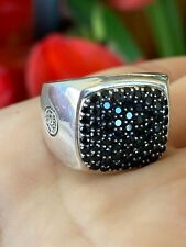 David Yurman Sterling Silver Men's Pave Black Sapphire Ring Size 9