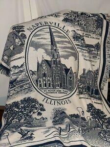 Naperville Illinois Woven Throw Blanket 48x62 Blue White
