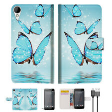 Cyan Butterfly Wallet TPU Case Cover For HTC Desire 825 -- A019