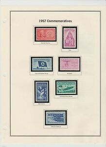 U.S. 1957 Commemorative Year Set, 14+1 Stamps Complete (2 scans), mNH Fine