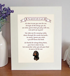 Gordon Setter Thank You FROM THE DOG Poem 8 x 10 Picture/10x8 Print Fun Gift