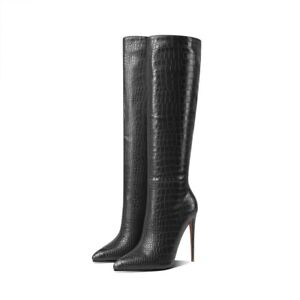 Women's Fashion Pointy Toe Shoes Pull On 12CM Heel Mid Calf Knee Riding Boots L
