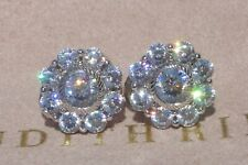 JUDITH RIPKA Sterling Silver CZ Diamonique Floral Clip On Earrings NEW!