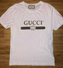 Gucci Men's Washed T-Shirt Vintage Logo Classic Cotton White Tee - Size M