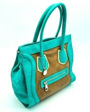 Big Buddha Purse • Satchel Style Handbag • Teal, Brown, & Gold • Very Nice!