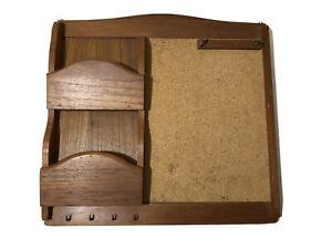 Vintage Mcm TeakWood Mail Holder Organizer Key Hanging Shelf With Cork board