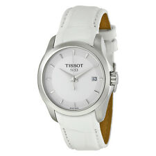Tissot Couturier White Dial White Leather Strap Ladies Watch T0352101601100