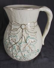 "Lovely 1880s Chesapeake Majolica Avalon Faience Bow Knot 8"" Pitcher"