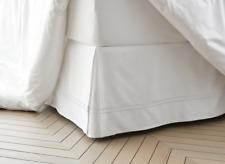 """Fieldcrest Hotel Sateen Embroidered Bedskirt Queen White 15"""" Cotton Drop 500 TC"""