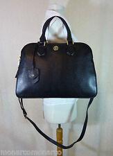 NWT Tory Burch Black Pebbled Leather Robinson Triple Zip Satchel $535