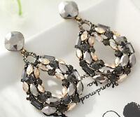 1 pair Elegant Black Crystal Rhinestone  Ear Drop Dangle Stud long  Earrings 62