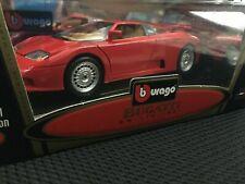 Bburago BUGATTI EB 110 Special Collection red with tan seats 1991 1/18 COD. 3055