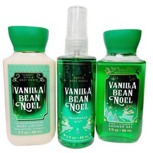 VANILLA BEAN NOEL Bath & Body Works Travel Set Body Spray Mist Lotion 3oz New