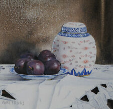 BEAUTIFUL ORIGINAL MIKE HENDY WATERCOLOUR PAINTING, STILL LIFE OF PLUMS, SIGNED