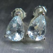 Aquamarine Pear Not Enhanced Fine Earrings