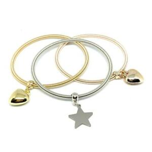 Tris Bracciale da Donna Tipo Pandora Charms Ciondolo Cuore Stella Fortuna