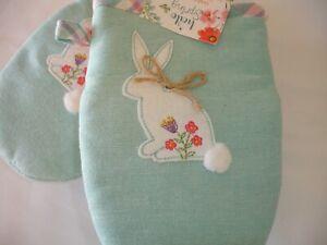 New! White Bunny Rabbit Oven Grabbers Mitts Kitchen Cotton Oven Mitt Grabbers
