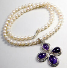 """Pearl,Amethyst Gemstone Jewelry 32g 925 Sterling Silver Beads Necklace 20""""MN1748"""