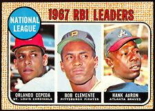 1968 TOPPS OPC O PEE CHEE #3 Hank Aaron Roberto Clemente Cepeda NM 1967 LEADERS