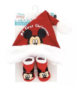 Mickey Mouse My First Christmas Santa Hat and Socks NIP Baby Boy Disney 0-12 Mo