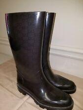 GUCCI EDIMBURG GG LOGO Rain boots Size 37 US 7 BLACK RUBBER