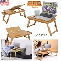 Adjustable Bamboo Rack Shelf Dormitory Bed Lap Desk Book Reading Tray Cup Stand