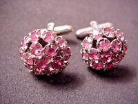 Cufflinks PINK Rhinestones Cuff Links Prong Set Silver tone Mens Womens