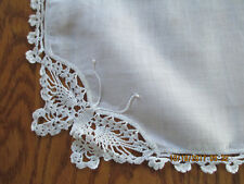 Vintage White Linen Hankie White Crocheted Butterfly and Floral Edge 1950's