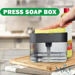 2-in-1 Liquid Dispenser Container Hand Press Soap Organizer Kitchen Cleaner Tool