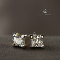 18k yellow gold gf princess cut made with swarovski crystal stud earrings