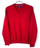 Gant Uomo Pullover Scollo V Cotone Premium Maglione Taglia M EZ393