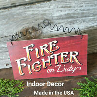 Firefighter on Duty * Wood Sign * Fireman  Fire Fighter USA * DecoWords