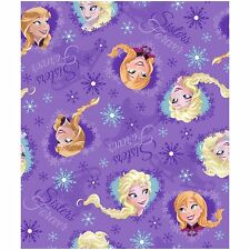Disney Frozen fabric, Purple Sisters Forever, Elsa and Ana, 10 yard bolt