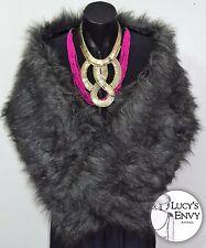 Australian Made Dark Grey Faux Fur Wrap Shrug Shawl by Lucy's Envy W102-16