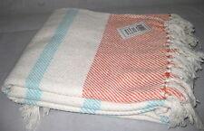 TASSELS 100% Cotton Natural AQUA Apricot Stripe 127x152cm Mother's Day Gift E1E