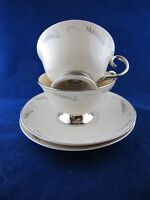 Continental White Flintridge China CUP and SAUCER Set of 2 Cream & Gray Border
