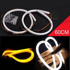 2x 60CM White Amber LED Strip Light Switchback Flexible DRL Drive Turn Signal US