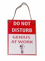Do Not Disturb Genius at Work with Lightbulb Novelty Funny 4x5 Wood Door Hanger