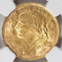 1947-B Switzerland Gold 20 Francs NGC MS-65 Aureate Amber GEM