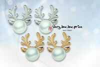 Reindeer Xmas Pearl Stud Earrings Elegant Novelty Earrings Party Jewelry 1 Pair