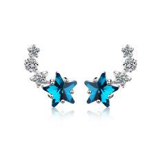 Plata esterlina 925 Mini estrella de diamantes de imitación de cristal Pendientes con Pasador para Mujeres Dama