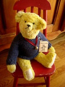 """Pat Murphy OOAK 1988 Gold Mohair Teddy Bear Glass Eyes """"The Coach"""" 13"""""""