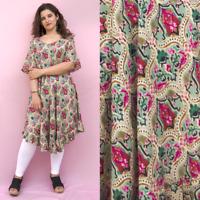 New Ladies Plus Floral Tunic Dress Top Boho Beach UK Size 18 20 22 24 26 28 30
