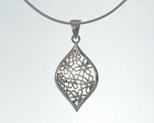 """Sterling Silver Stunning Filligree Drop Pendant Necklace with 18"""" Snake Chain"""