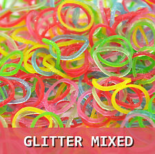 600pcs Rainbow Color Loom Bands Rubber Bracelet Kit Refill 24Clips Glitter Mixed
