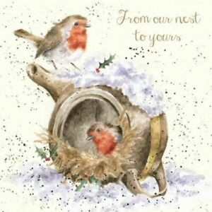 Wrendale Christmas Card cute robins from our nest to yours