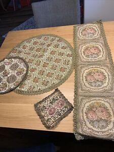 4 Stück antiker Brokattischläufer Deckchen Brokatläufer Tischdecke Für Bastler